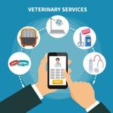Composition vétérinaire en appartement service compris illustration de vecteur