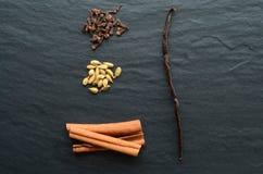 Composition of vanilla stick, cinnamon, cloves and cardamon Stock Photography