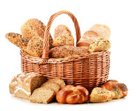 Composition with variety of baking products on white Stock Photos