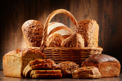 Composition with variety of baking products on wooden table Royalty Free Stock Photography
