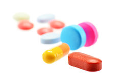 Composition with variety of drug pills Stock Photo