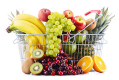 Composition with variety of fresh fruits. Balanced diet Royalty Free Stock Photos