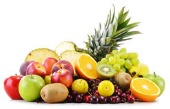 Composition with variety of fresh fruits. Balanced diet Stock Image
