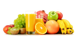 Composition with variety of fresh fruits. Balanced diet Royalty Free Stock Images