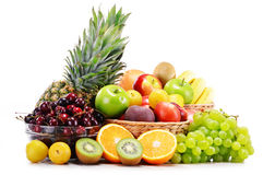 Composition with variety of fresh fruits. Balanced diet Stock Photos