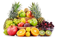 Composition with variety of fresh fruits. Balanced diet Stock Images