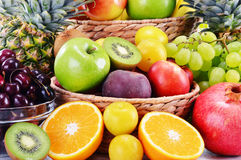 Composition with variety of fresh fruits. Balanced diet Royalty Free Stock Image