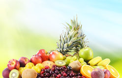 Composition with variety of fresh fruits. Balanced diet.  Stock Photo