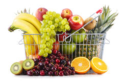 Composition with variety of fresh fruits. Balanced diet Royalty Free Stock Photo