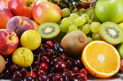Composition with variety of fresh fruits. Balanced diet.  Royalty Free Stock Image