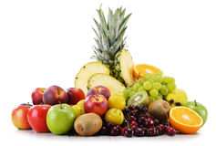 Composition with variety of fresh fruits. Balanced diet Stock Photography