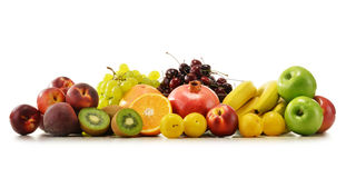 Composition with variety of fresh fruits. Balanced diet Stock Photo