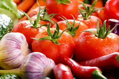 Composition with variety of fresh organic vegetables and fruits Royalty Free Stock Photo