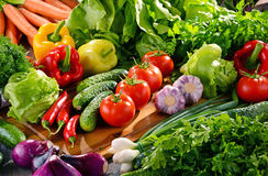 Composition with variety of fresh organic vegetables and fruits Royalty Free Stock Photos