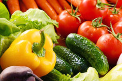 Composition with variety of fresh organic vegetables and fruits Stock Photos
