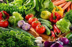 Composition with variety of fresh organic vegetables and fruits Royalty Free Stock Image