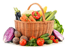 Composition with variety of fresh raw organic vegetables. On white Stock Photography