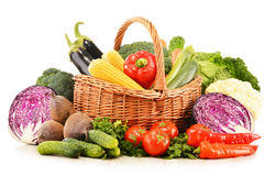 Composition with variety of fresh raw organic vegetables. On white background Royalty Free Stock Image