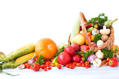 Composition with variety of fresh vegetables and fruits. Stock Photo