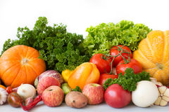 Composition with variety of fresh vegetables and fruits. Royalty Free Stock Photos