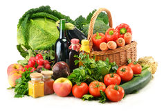 Composition with variety of fresh vegetables. On white background Royalty Free Stock Image