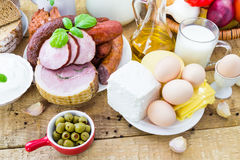 Composition variety grocery products meat dairy Stock Photo