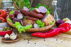 Composition variety meats sausages Stock Photo