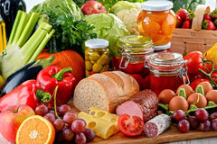 Composition with variety of organic food Royalty Free Stock Photos