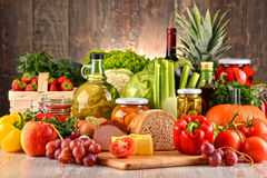 Composition with variety of organic food Royalty Free Stock Images