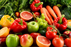 Composition with a variety of organic vegetables and fruits Royalty Free Stock Image