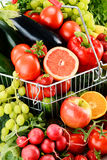 Composition with a variety of organic vegetables and fruits Royalty Free Stock Photo