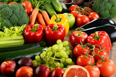 Composition with a variety of organic vegetables and fruits Royalty Free Stock Images