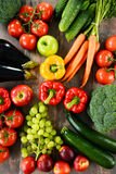 Composition with a variety of organic vegetables and fruits Stock Photography