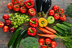 Composition with a variety of organic vegetables and fruits Stock Photo