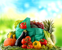 Composition with variety of organic vegetables and fruits Royalty Free Stock Image