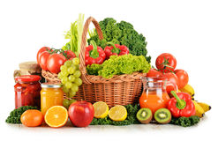 Composition with variety organic vegetables and fruits in wicker Royalty Free Stock Image