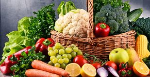 Composition with variety of raw organic vegetables and fruits Royalty Free Stock Photography