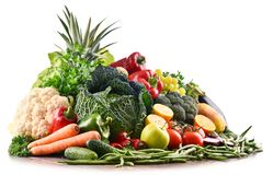 Composition with variety of raw organic vegetables and fruits Royalty Free Stock Photo