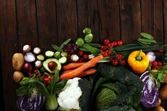 Composition with variety of raw organic vegetables and fruits. Balanced diet stock photo