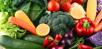 Composition with variety of raw organic vegetables and fruits Stock Image