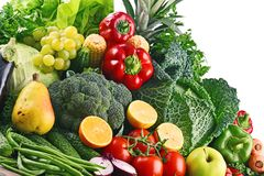 Composition with variety of raw organic vegetables and fruits Stock Images