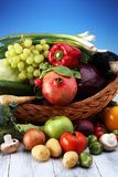 Composition with variety of raw organic vegetables and fruits. Balanced diet. Composition with variety of raw organic vegetables and fruits. Balanced diet Stock Images