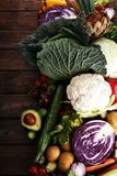 Composition with variety of raw organic vegetables and fruits. Balanced diet stock images