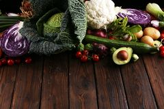 Composition with variety of raw organic vegetables and fruits. Balanced diet royalty free stock image