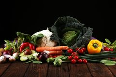 Composition with variety of raw organic vegetables and fruits. Balanced diet royalty free stock images
