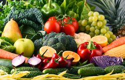 Composition with variety of raw organic vegetables and fruits Royalty Free Stock Images