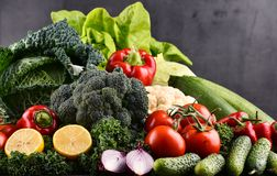 Composition with variety of raw organic vegetables and fruits Royalty Free Stock Photos