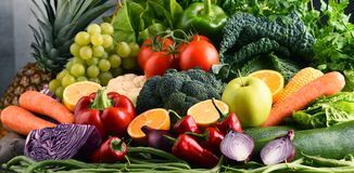 Composition with variety of raw organic vegetables and fruits. Balanced diet Stock Image