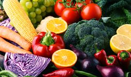 Composition with variety of raw organic vegetables and fruits Stock Photography