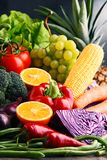 Composition with variety of raw organic vegetables and fruits Royalty Free Stock Image